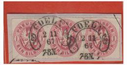 ### ALLEMAGNE ### PRUSSE ### BANDE DE TROIS DU N°17 SUR FRAGMENT ### OBLITERATION FER A CHEVAL### 1867 - Prusse