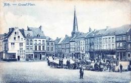 """ATH - Grand´Place - Superbe Carte """"Bleue""""  Jour De Marché Ou De Brocante - Circulée En 1908 - Ath"""