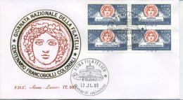 ITALIA - FDC  ROMA  LUXOR 1993 -  GIORNATA DELLA FILATELIA - QUARTINA - ANNULLO ROMA - 6. 1946-.. Repubblica