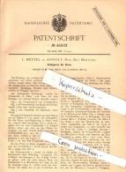 Original Patent - L. Hetzel In Anholt , Isselburg , 1888 , Schlagwerk Für Uhren , Uhrmacher , Uhr , Münster  !!! - Antike Uhren
