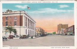 Alabama Tuscaloosa Broad Street Looking West Showing Post Office And First National Bank - Tuscaloosa