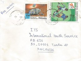 Madagascar 1990 Tamatave Football Space Viking-2 Mars Planet Cover - Brieven & Documenten