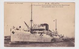 (RECTO / VERSO) S.S. PLATA EN 1919 - PAQUEBOT FRANCAIS - TELEGRAPHE SANS FIL - CACHET MILITAIRE CHEMIN DE FER AU VERSO - Paquebots