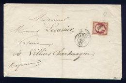 Lettre De La Flèche Pour Villiers Charlemagne 1856 - Marcophilie (Lettres)