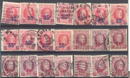 _4Zw666: Restje : 21 Zegels: Verschoven Opdruk....... Om Verder Uit Te Zoeken... - 1922-1927 Houyoux