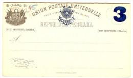 LBL289 - PEROU EP CPRP EMISSION 1884 3c SUR 3c  + 3c SUR 3c NEUVE - Peru