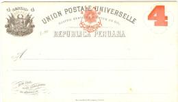 LBL289 - PEROU EP CP EMISSION 1884 4c SUR 4c  NEUVE - Peru