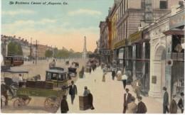 Augusta Georgia, Business District Street Scene, Wagons Street Car, c1910s Vintage Postcard