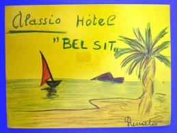 HOTEL ALBERGO PENSIONE CAMPING BEL SIT ALASSIO ITALIA ITALY DECAL STICKER LUGGAGE LABEL ETIQUETTE AUFKLEBER - Hotel Labels