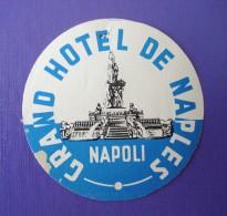 HOTEL ALBERGO PENSIONE CAMPING GRAND NAPOLI NAPLES ITALIA ITALY TAG DECAL STICKER LUGGAGE LABEL ETIQUETTE AUFKLEBER - Hotel Labels
