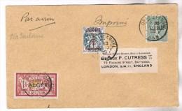 ALGERIE MERSON 1FR +15C + 1.2C BLANC LETTRE AVION ORAN 20.2.1925 / LONDRES VIA TOULOUSE - Postmark Collection (Covers)