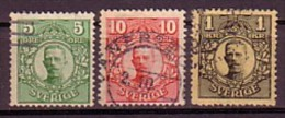 SUEDE - SVERIGE - 1910 - 1919 - Gustave V - 5,10 Ore Et 1 Kr. Obl. - Oblitérés