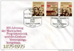DDR - 21 5 1975 FDC 100 JAHRESTAG..... (W.LIEBKNECHT -A BEBEL - K. MARX- F. ENGELS) - Famous People
