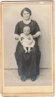 Lot   2   Photos Cartonnées  Femme Avec  BEBE  Et Fille - Antiche (ante 1900)