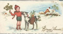 Petite Carte De Voeux/ Circulée/Jeune Enfant Avec Chien Et Paniers / Vers 1950    CVE46 - Nouvel An