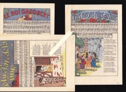 Chanson Enfantine - Lot De 3 - Pub Rapinel à Bazouges - Roi Dagobert, Clair De La Lune, Nous N'irons Plus Au Bois - Vieux Papiers