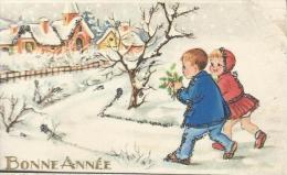 Petite Carte De Voeux/ Circulée/Couple D'enfants Avec Branche De Houx/vers 1950   CVE48 - Nieuwjaar
