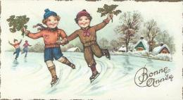 Petite Carte De Voeux/ Circulée/Couple D´enfants Patinant /Honfleur/ 1957   CVE49 - Neujahr