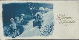 Petite Carte De Voeux/ Circulée/Enfants Faisant De La Luge/ 1927   CVE51 - Nouvel An