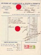 Syndicat Agricole Du Pays De Herve 1931 - Factures & Documents Commerciaux