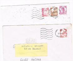 ITALIA (ITALY)  - STORIA  POSTALE - LOTTO DI 2 LETTERE X INTERNO (FRANCOBOLLI IN BOBINA X DISTRIB. AUTOMATICI) -RIF.1877 - 1991-00: Poststempel