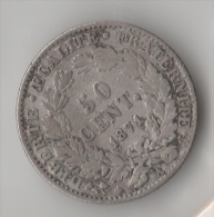 FRANCE 50 CENTIMES 1871 A  CERES  ARGENT SILVER - G. 50 Centimes