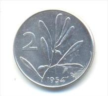 ITALIA REPUBBLICA  2 LIRE ANNO 1954 - 2 Liras