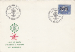 FIGHT AGAINST MALARIA, MOSQUITO, EMBOISED COVER FDC, 1962, SWITZERLAND - Disease