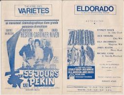 AMBASSADOR, ELDORADO, SCALA Et  VARIETES (Bruxelles) - LES 55 JOURS DE PEKIN (de 1961 à 1972)et Autres. - Cinema Advertisement