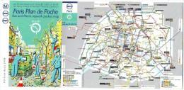 PARIS PLAN DE POCHE . BUS ET METRO . RESEAU METROPOLITAIN - Europe