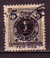 SUEDE - SVERIGE - 1916 - 1917 - Timbrees De 1872 - 91 Avec Surcharge Bloue - 5 + 5 Sur 1 Ore Obl. - Oblitérés