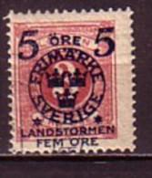 SUEDE - SVERIGE - 1916 - 1917 - Timbrees De 1872 - 91 Avec Surcharge Bloue - 5 + 5 Sur 3** Ore - Suède