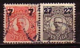 SUEDE - SVERIGE - 1919 - Timbrees De 1872 - 91 Avec Surcharge  - 2 V Obl. - Suède