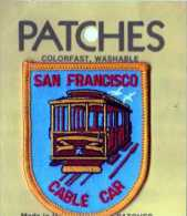 Ecusson Tissu, Feutrine Brodee, Cable Car SAN FRANCISCO, Format 7,5x6 Cm - Scudetti In Tela