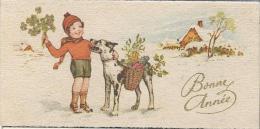 Petite Carte De Voeux/ Circulée/Jeune Garçon Et Chien Avec Paniers/Dorure/ 1947   CVE52 - Neujahr
