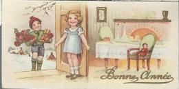 Petite Carte De Voeux/ Circulée/Jeune Couple Et Poupée Devant Table De Réveillon/Dorure/ 1947   CVE53 - Neujahr