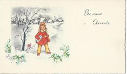 Petite Carte De Voeux/ Circulée/Jeune Fille Dans La Neige Avec Cadeau/ Vers 1950   CVE54 - Neujahr