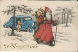 """Petite Carte De Voeux/ Joyeux Noël""""/Non Circulée/Pére Noël Et Automobile / Vers 1940    CVE58 - Weihnachtsmänner"""