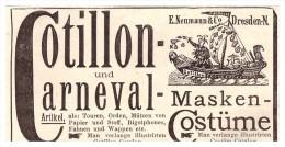 Original Werbung - 1891 - Karneval - Masken , Kostüme , E. Neumann & Co., Fasching !!! - Carnaval