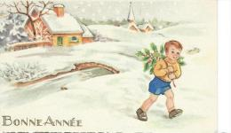 Petite Carte De Voeux/  Circulée/Jeune Garçon Et Branche De Houx / 1958    CVE59 - Neujahr