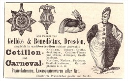 Original Werbung - 1891 - Karneval - Masken , Kostüme , Gelbke & Benedictus In Dresden , Fasching !!! - Fasching & Karneval