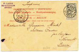 """1901 RECLAMEZICHTKAART """"ANVERS Mt AFFRAN.."""" MET PZ 53+55(2VERSO) VAN ANVERS DEPART NAAR ROUJAN ZIE SCAN(S) - 1893-1907 Stemmi"""