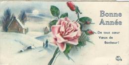 Petite Carte De Voeux/  Circulée/Maison Dans La Neige Et Roses/ 1935    CVE64 - Nouvel An