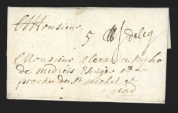 """Pr�philat�lie - lettre dat�e de Anthine (Anthisne) 1697 manuscrit """"Deleg"""" (Li�ge) + """"5"""" pour Gand + paraphe directeur..."""