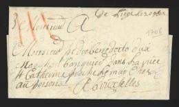 """Pr�philat�lie - lettre 1706 manuscrit """"De Li�ge le 20 9bre"""" + port """"III"""" � la craie rouge pour Bruxelles"""