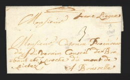 """Pr�philat�lie - lettre dat�e de Limbourg 1707 manuscrit. """"franc Li�ge"""" + """"3"""" pour Bruxelles"""