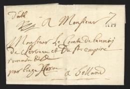 """Pr�philat�lie - lettre dat�e de Tongre Notre Dame 1739 avec Marque ATH + manuscrit """"D'Ath"""" - rare combinaison - non-r..."""