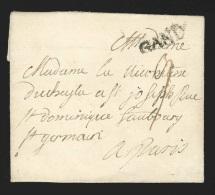 """Pr�philat�lie - lettre dat�e de LAEKEN (+/- 1745/49) + marque GAND (21x5 mm Herl 17) - texte int�ressant """"Les ennemis..."""