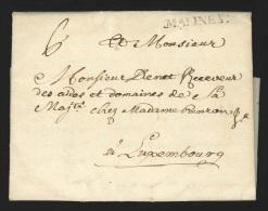 """Pr�philat�lie - lettre 1749 marque MALINES + """"6"""" pour Luxembourg - bonne destination"""