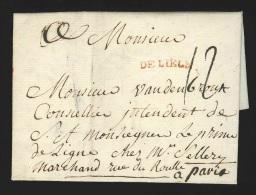 """Pr�philat�lie - lettre +/- 1770 marque rouge """"DE LIEGE"""" (Herl 16) + """"12"""" pour Paris"""